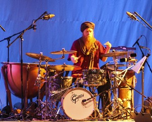 Touring drummer, David Alderdice performs on his 'symphonic' drum kit, with the Celtic ensemble Feast.